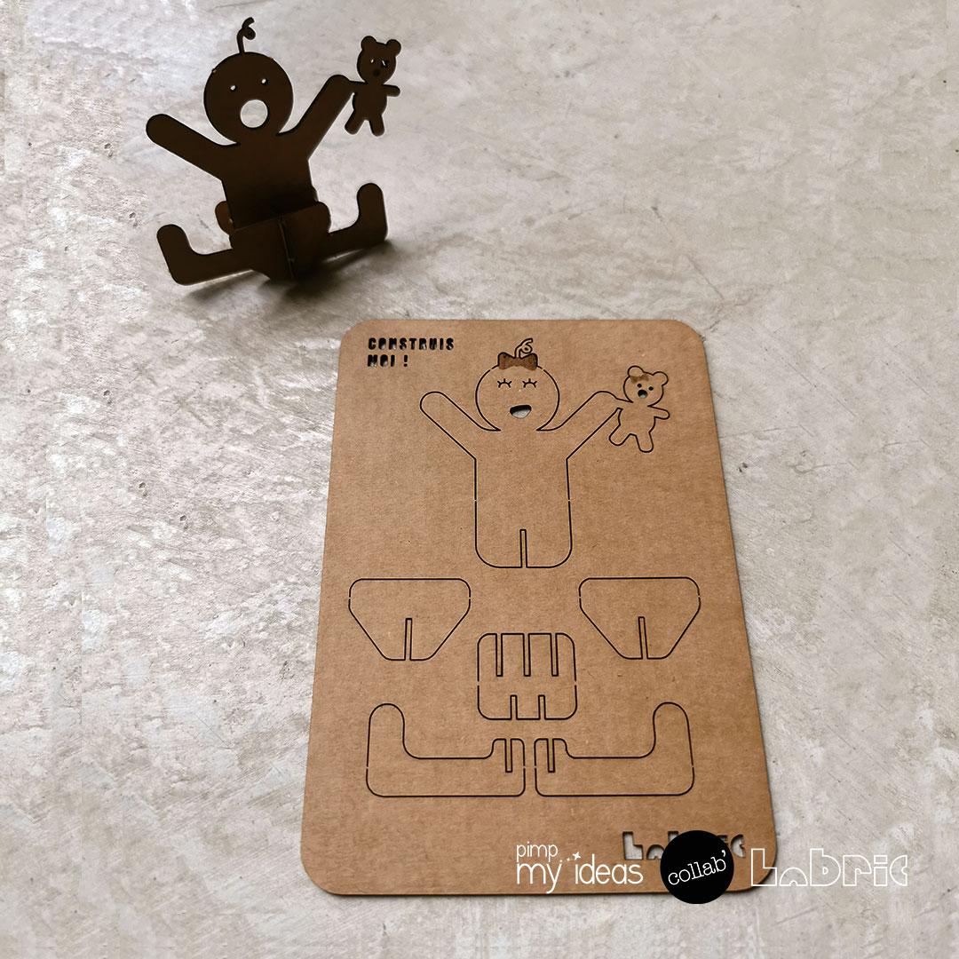 collab pimp my ideas labric carte naissance papertoy 3D