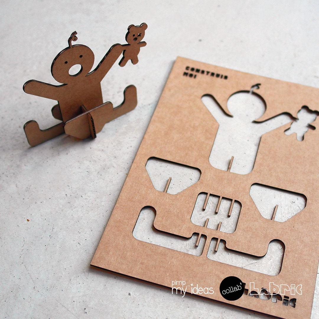 collab pimp my ideas labric carte naissance papertoy 3D evide